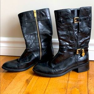 MICHAEL KORS Black Leather Gold Buckle Boot